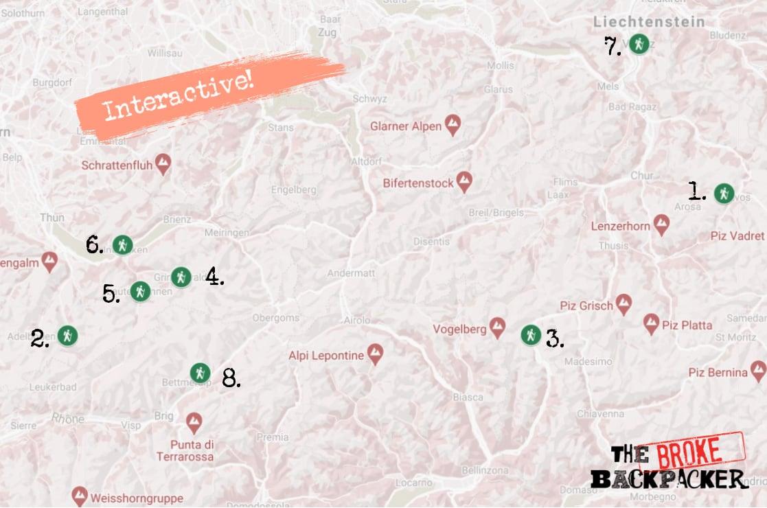 Best Hikes in Switzerland Trail Map