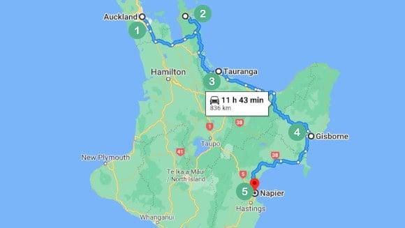 Napier via the Coromandel Peninsula Auckland