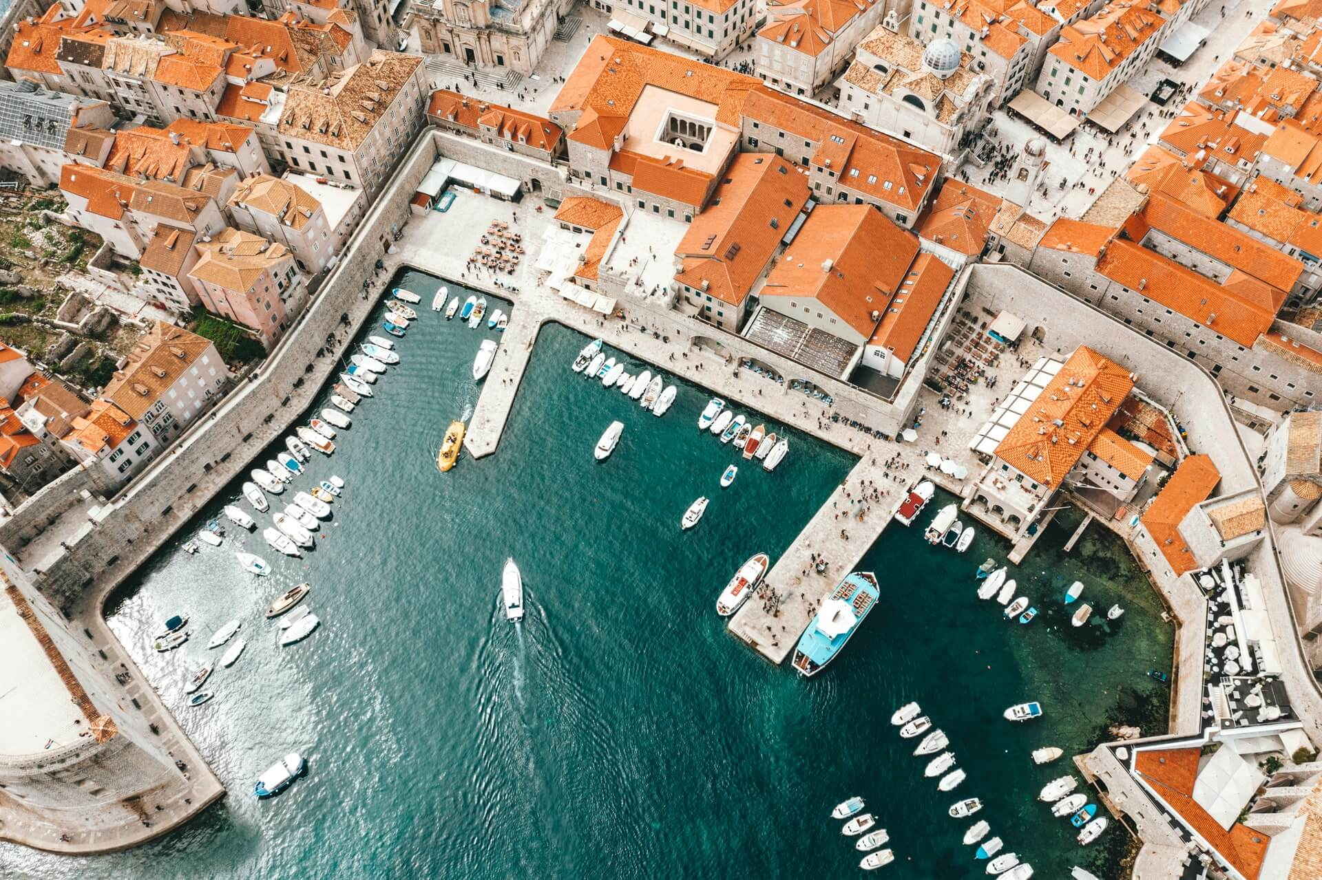 Aerial photo of a port in Croatia taken after reopening borders