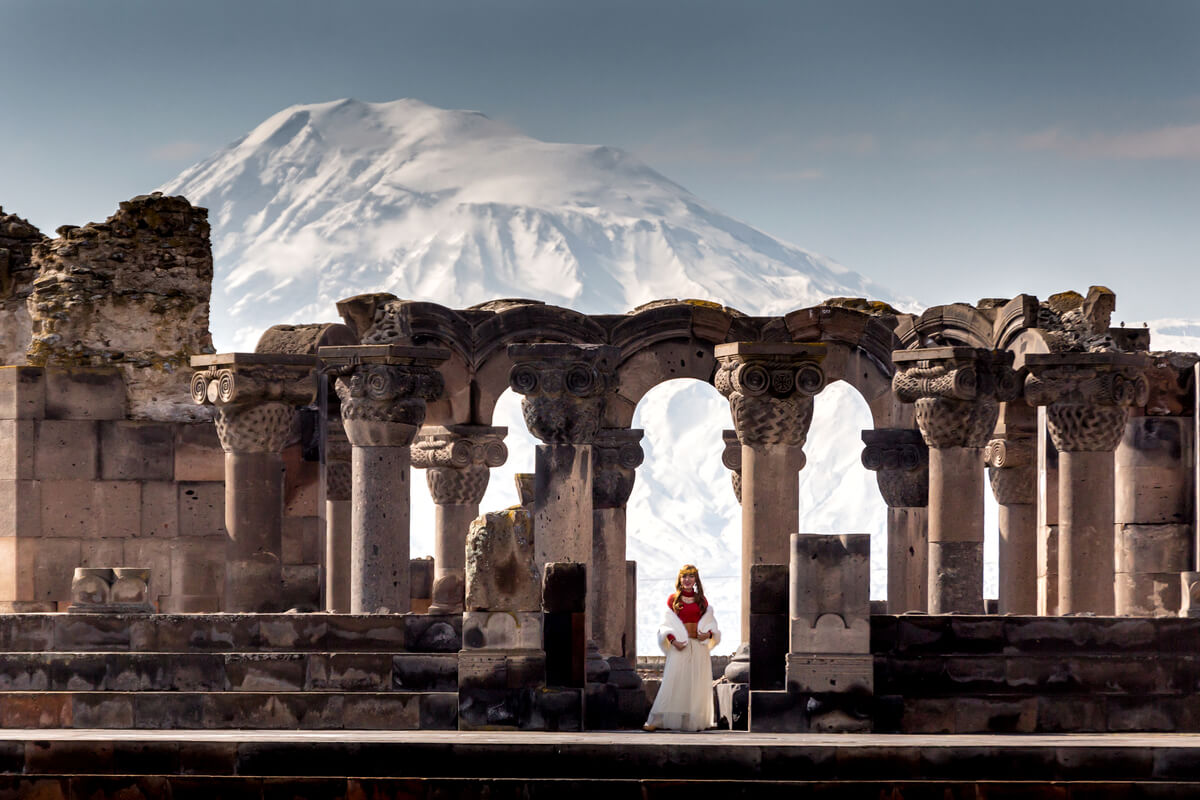 Zvartnots Temple ruins in Yerevan, Armenia - a destination recently reopened to Americans