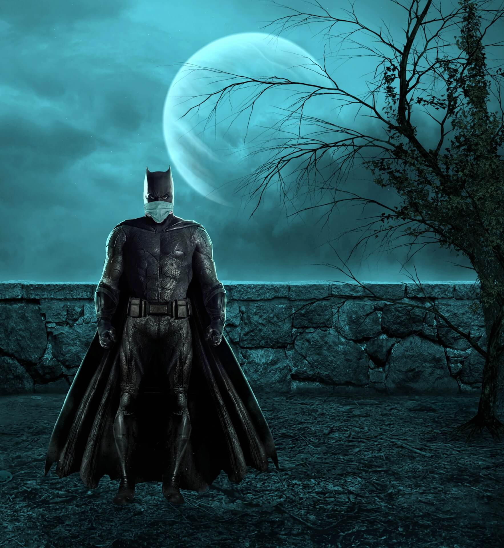 Batman wearing his mask t protect from coronavirus