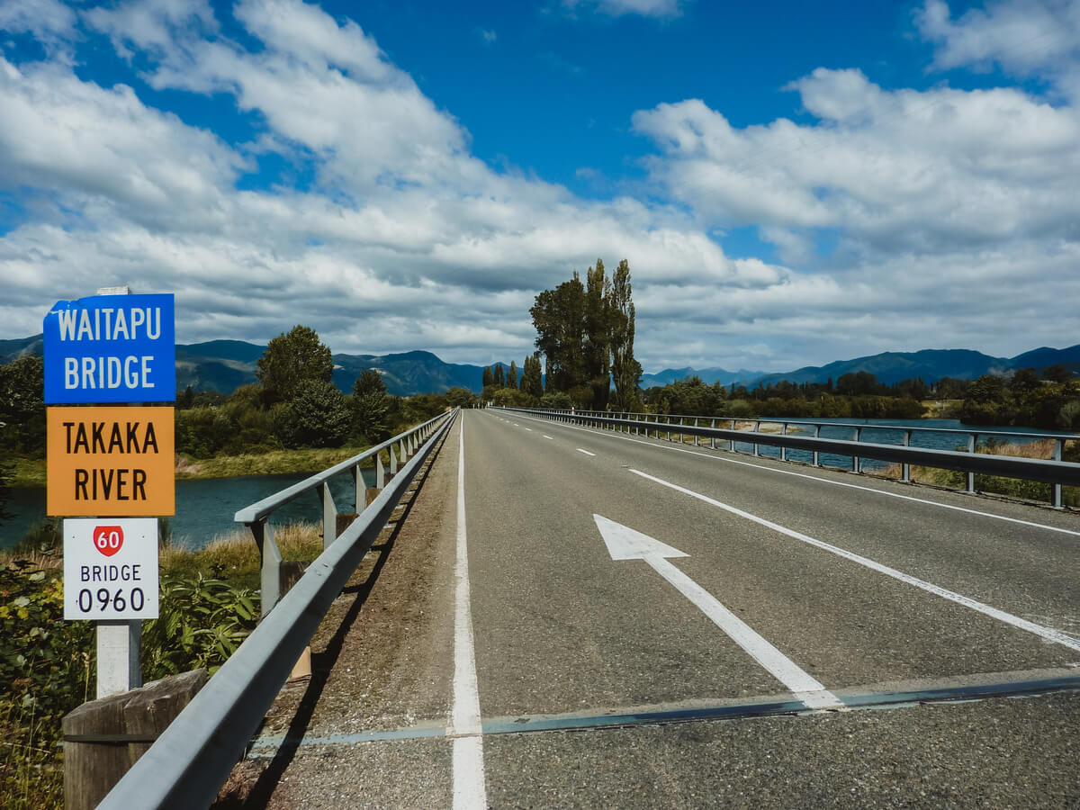 Bridge crossing when entering Golden Bay - one of the best drives in New Zealand's South Island