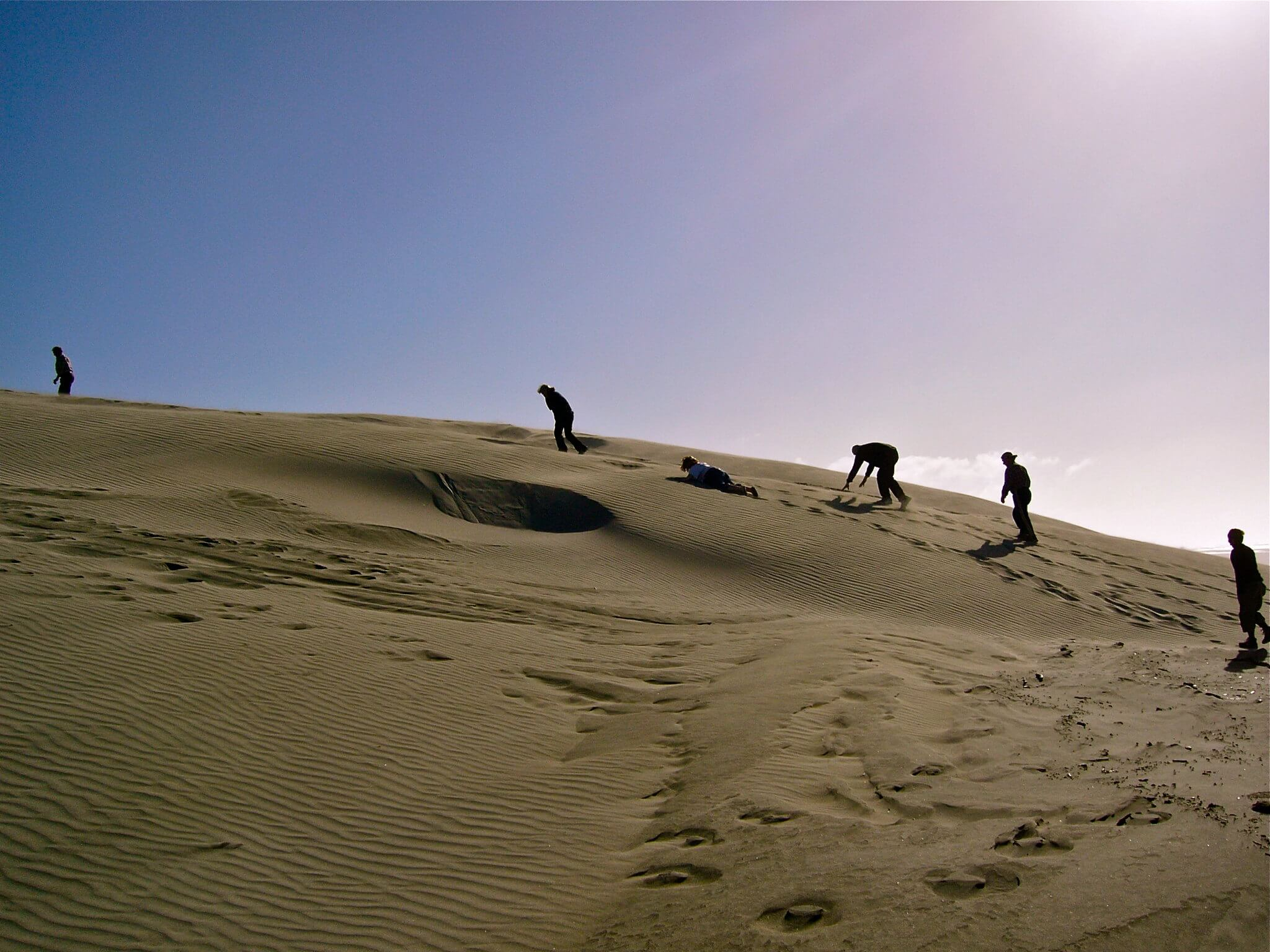 Hiking up the dunes while on a driving tour of the Farewell Spit, New Zealand