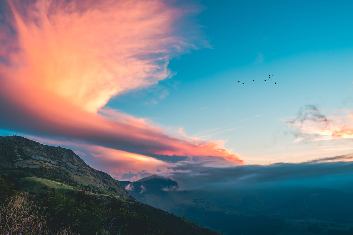 Sunset from a lookout on Takaka Hill, Golden Bay