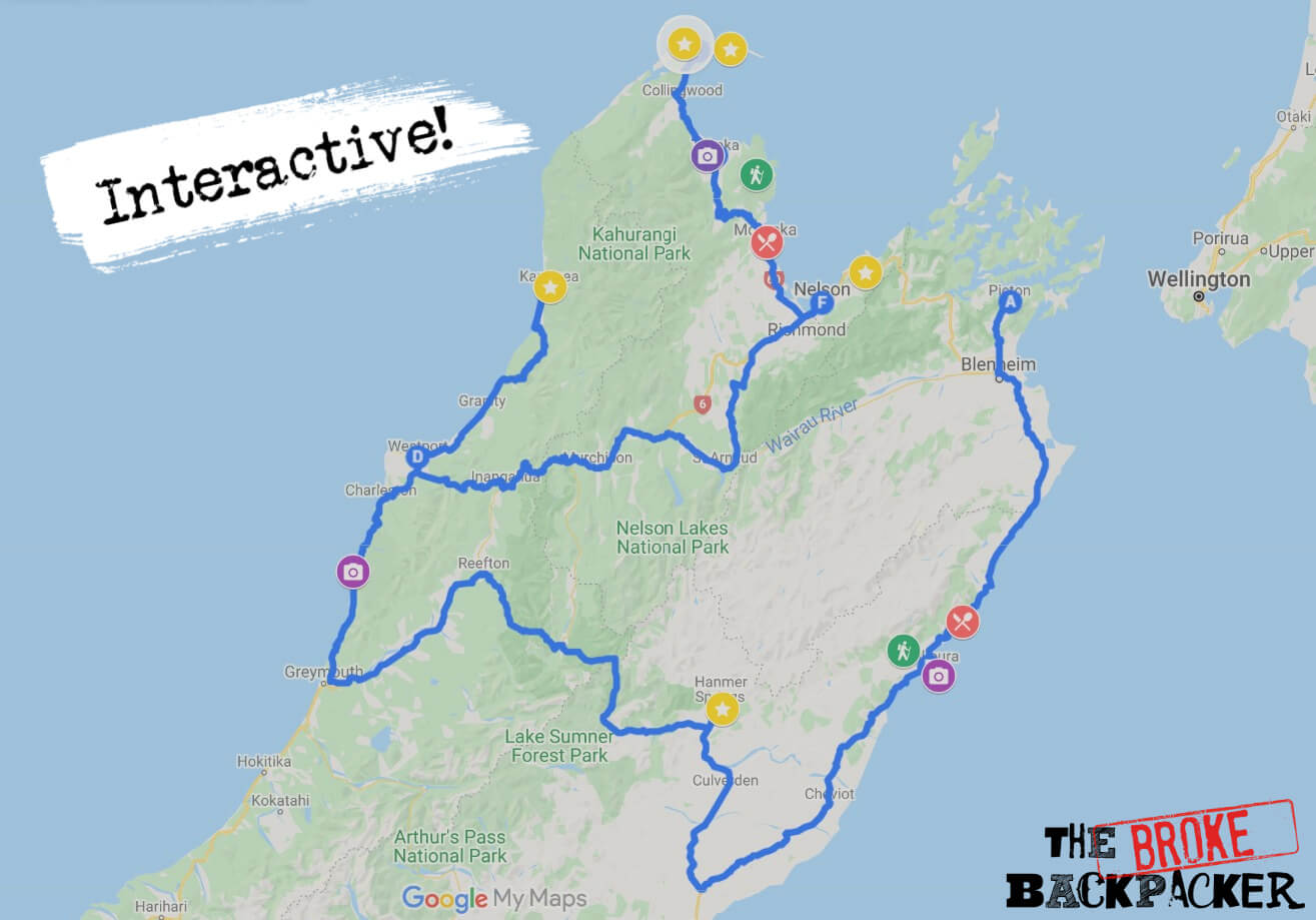 Map of the New Zealand South Island road trip route #1