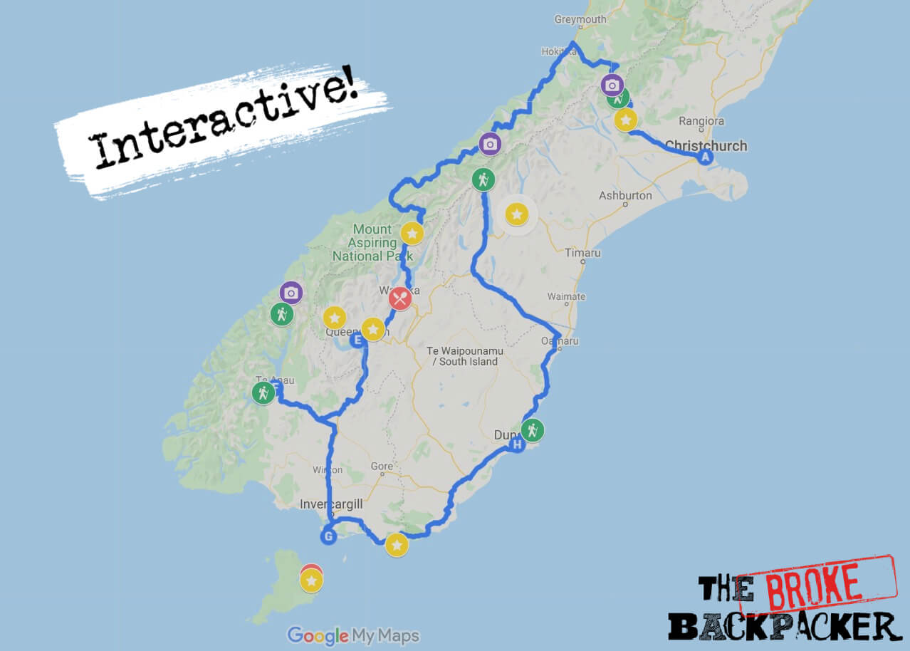 Map of the New Zealand South Island road trip route #2