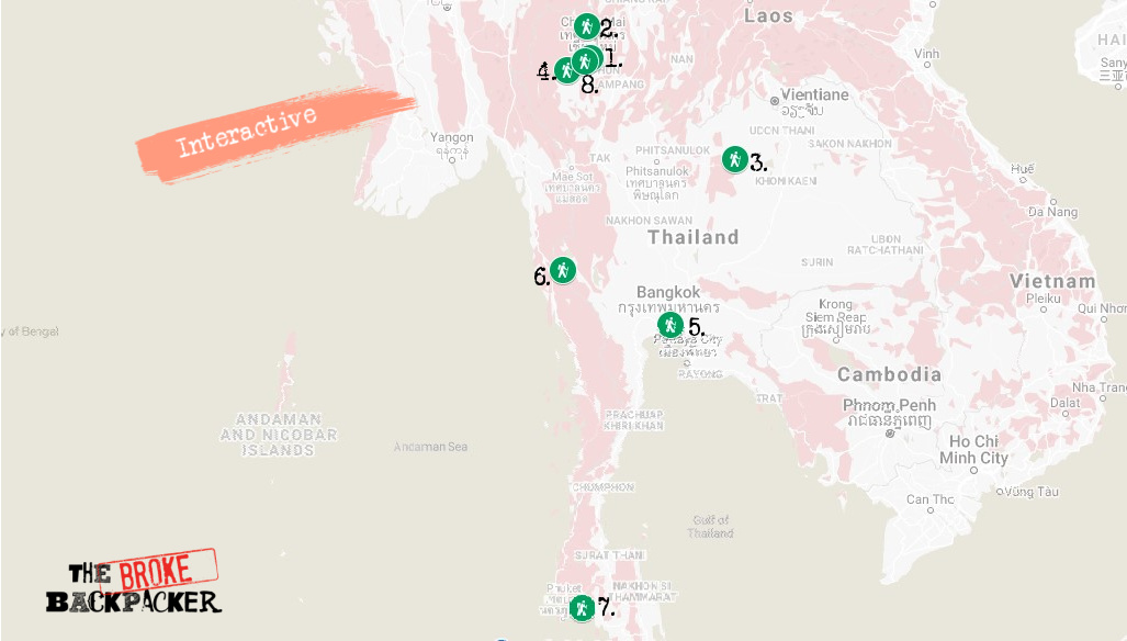 Map of Best Hikes in Thailand What to Know Before Hiking in Thailand