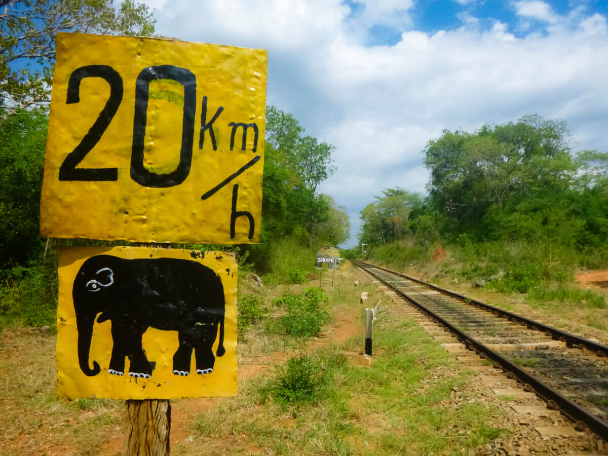 Train tracks and sign in central Sri Lanka warning of potential elephant encounters