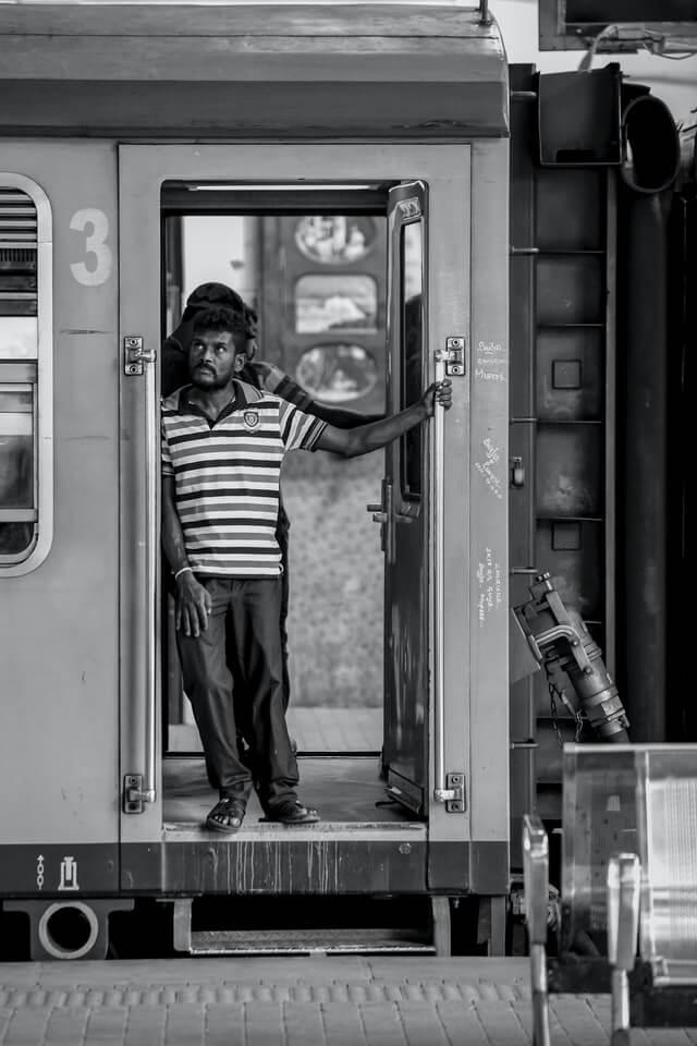 A Sri Lankan man on a train in Colombo