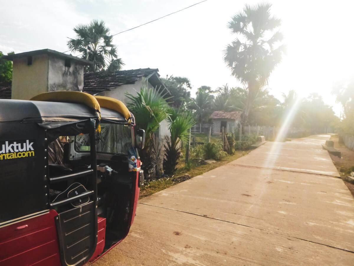 A rental tuk-tuk in Sri Lanka of the beaten path in a rural village