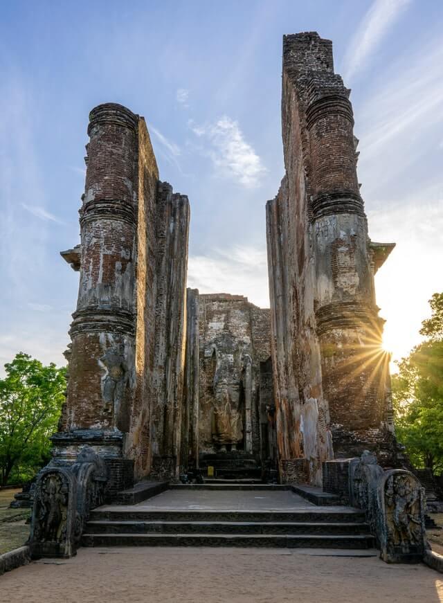 Ruins of temple complex in Polonnaruwa - historical site in Sri Lanka