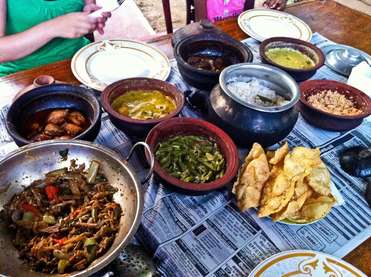 Sri Lankan street food - rice and curry buffet