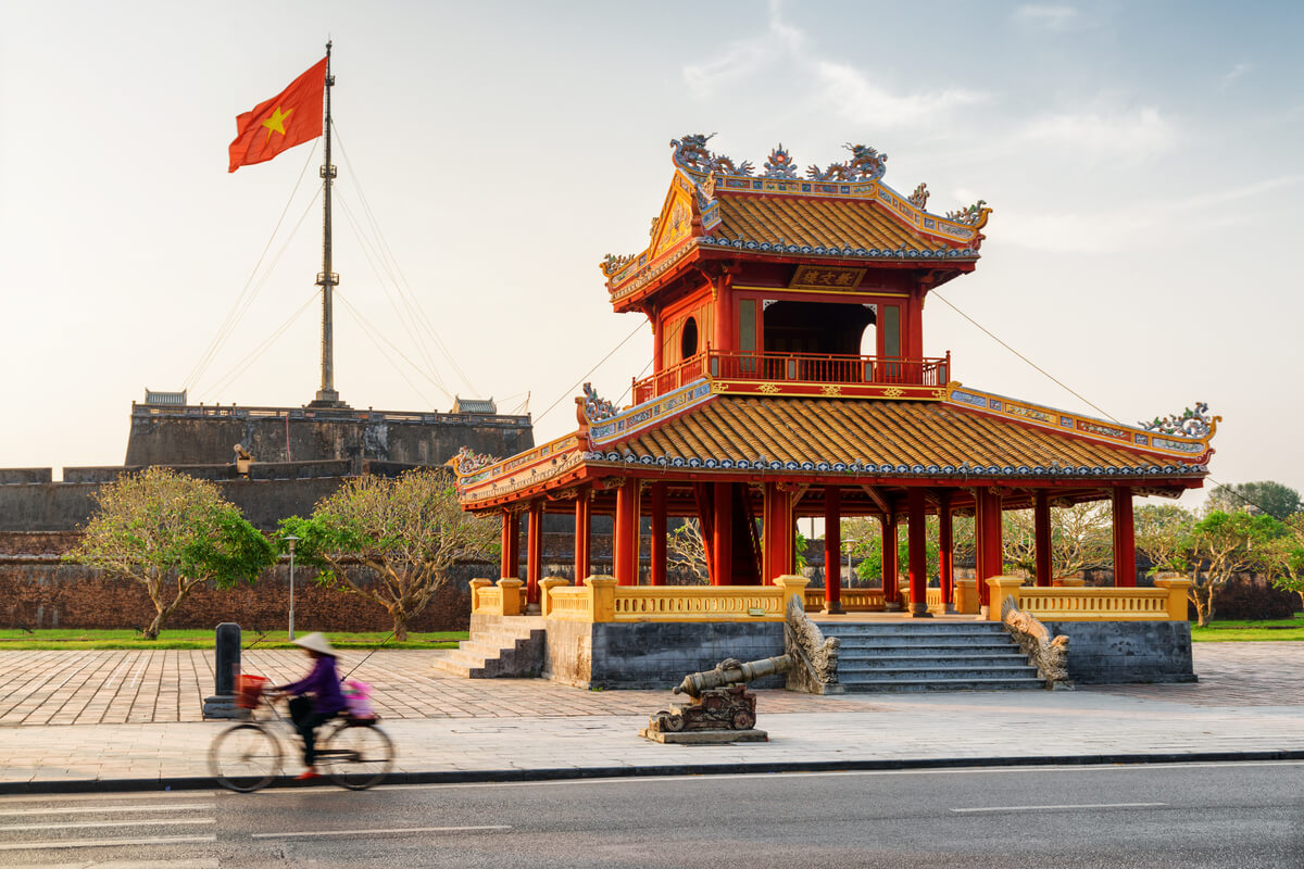 Imperial walls and cultural attraction in the city of Hue, Vietnam