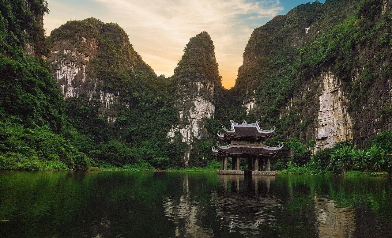A famous temple in front of mountains in Vietnam