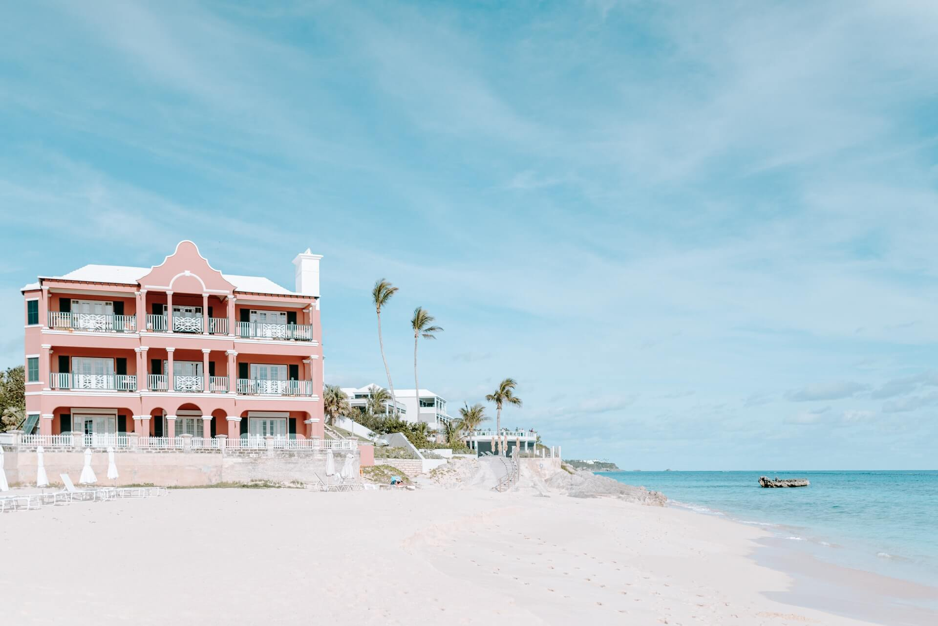 A beautiful beachside villa on a tropical beach in Bermuda