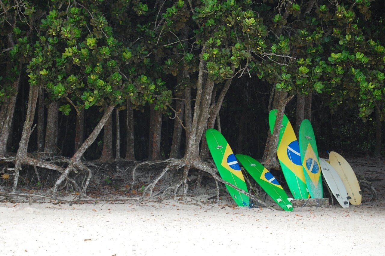 Brazillian flag surfboards on a beach in tropical Ihla Grande
