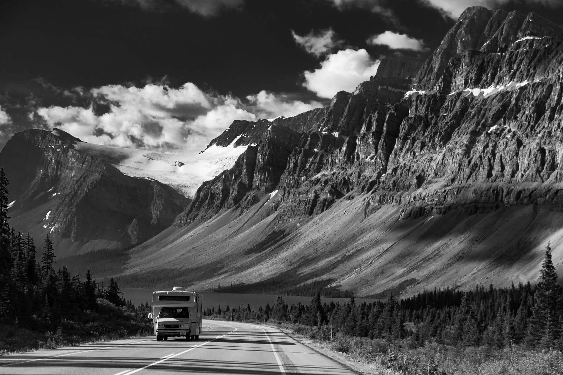 A rental RV on a planned road trip through the Canadian Rocky Mountains