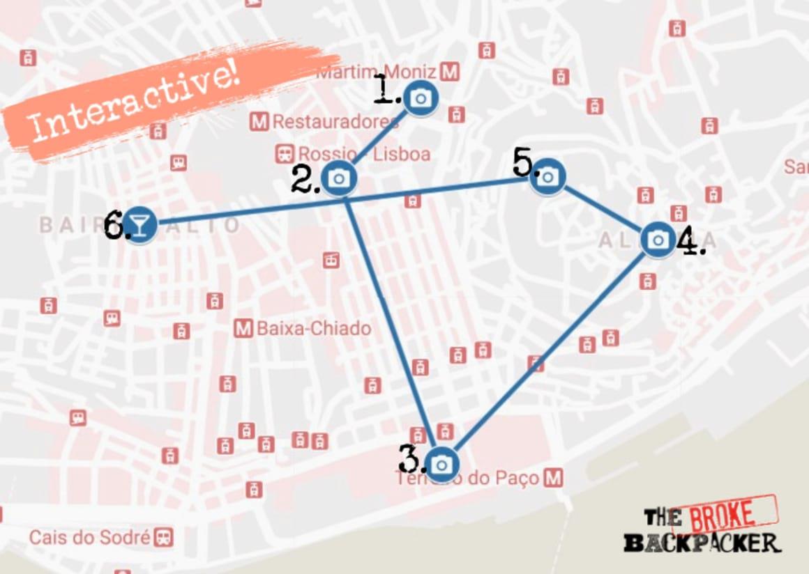 Day 1 Lisbon Itinerary Map