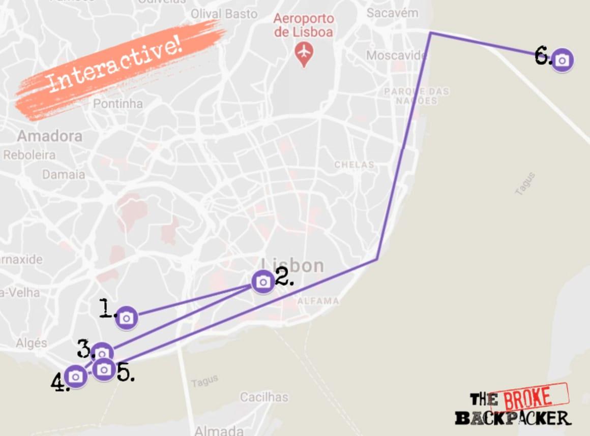 Day 2 Lisbon Itinerary Map