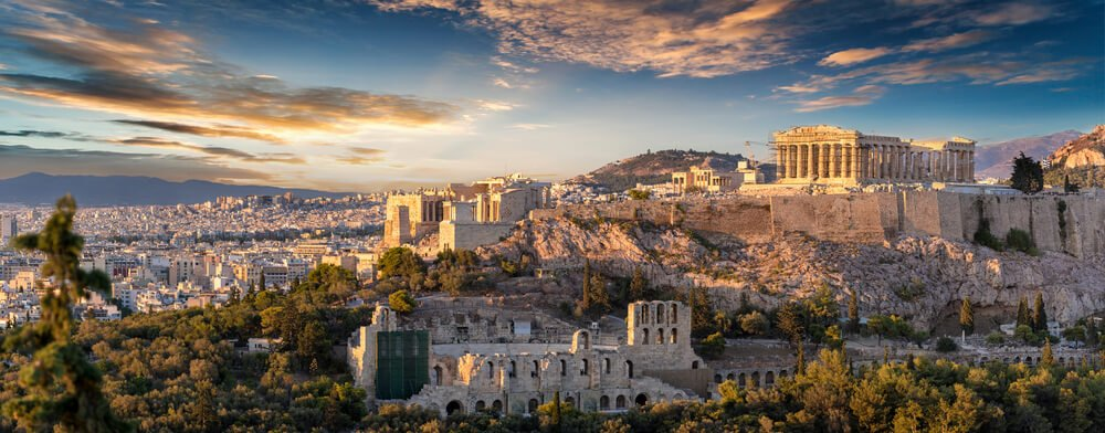 Panoroma of the Acropolis and Pantheon in Athens at sunset