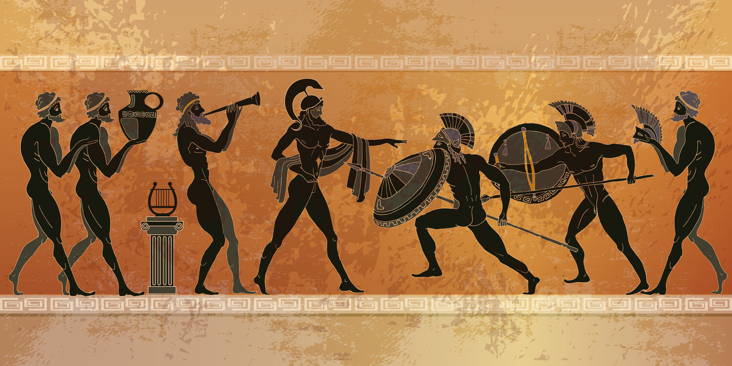 A piece of traditional ancient Greek art portraying a battle