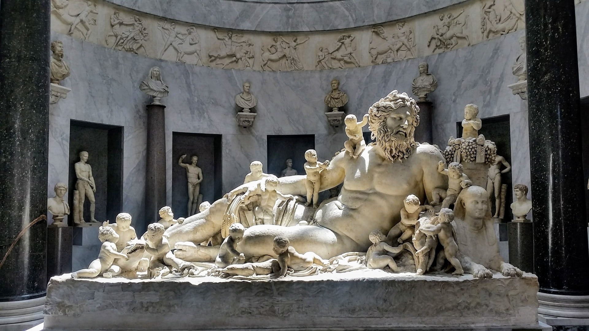 Famous statue of Cronus with the Greek Gods in the Vatican, Rome