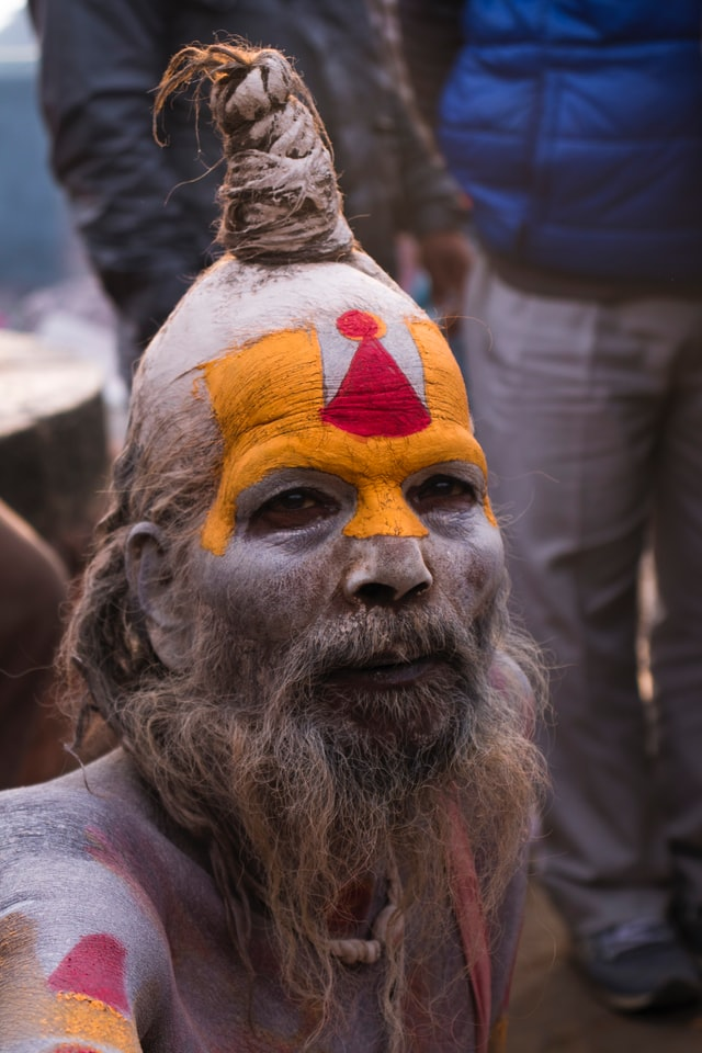 A painted and costumed Sadhu during Maha Shivaratri festival in Nepal