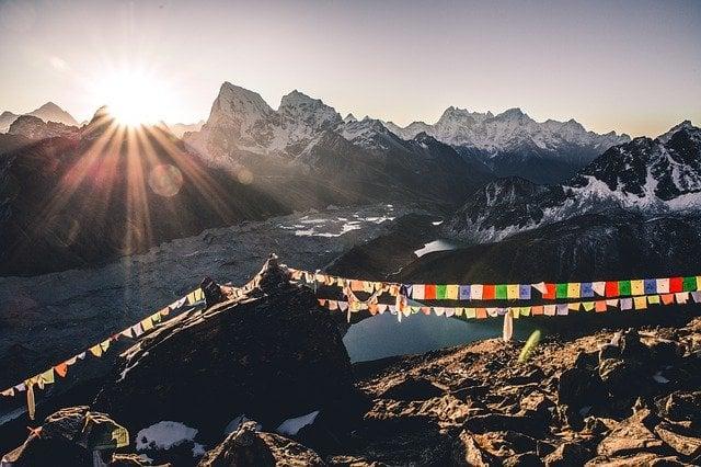 View of Gokyo Ri Lake while trekking in Nepal