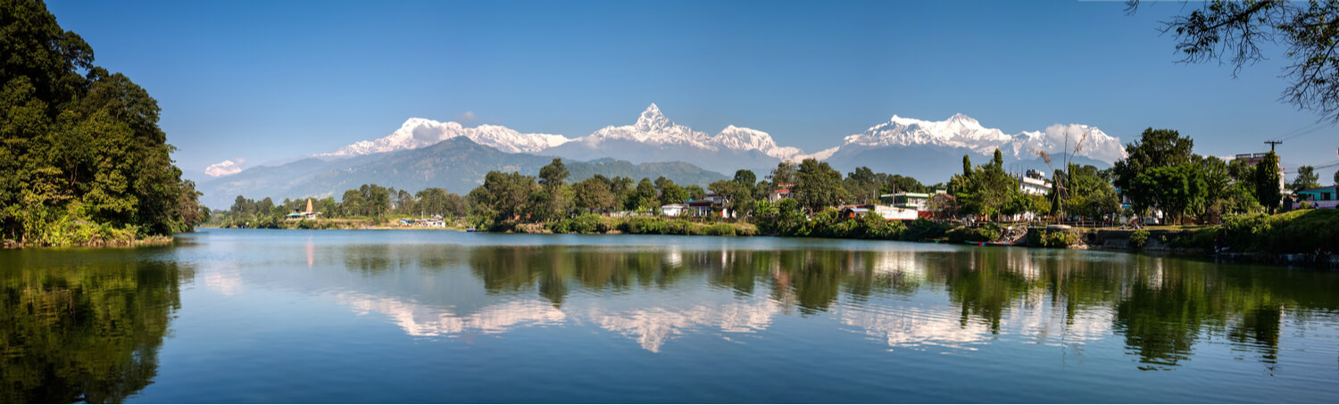 The panorama from Phewa Lake, Pokhara, while on a local boat ride