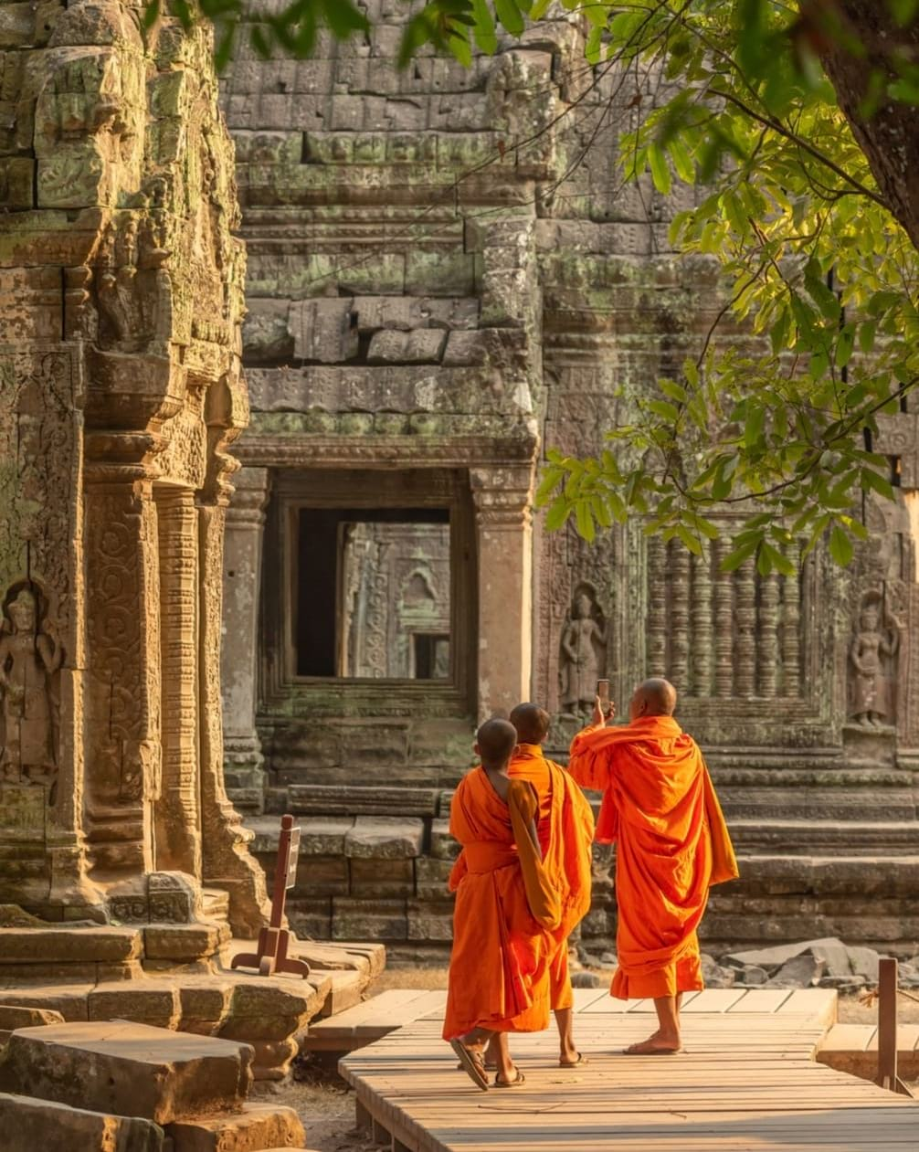young monks in temple cambodia