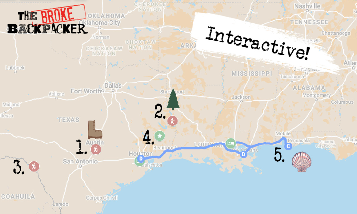 Map of Best Places to Visit near Houston