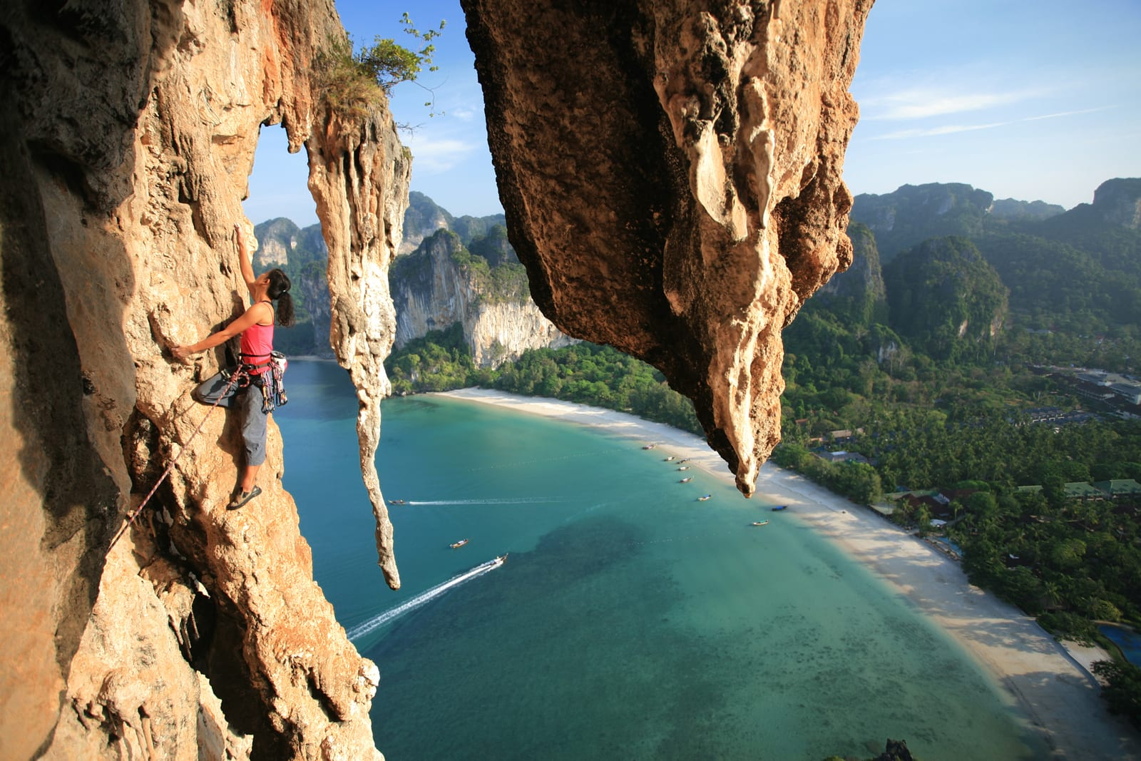 climber in railay thailand