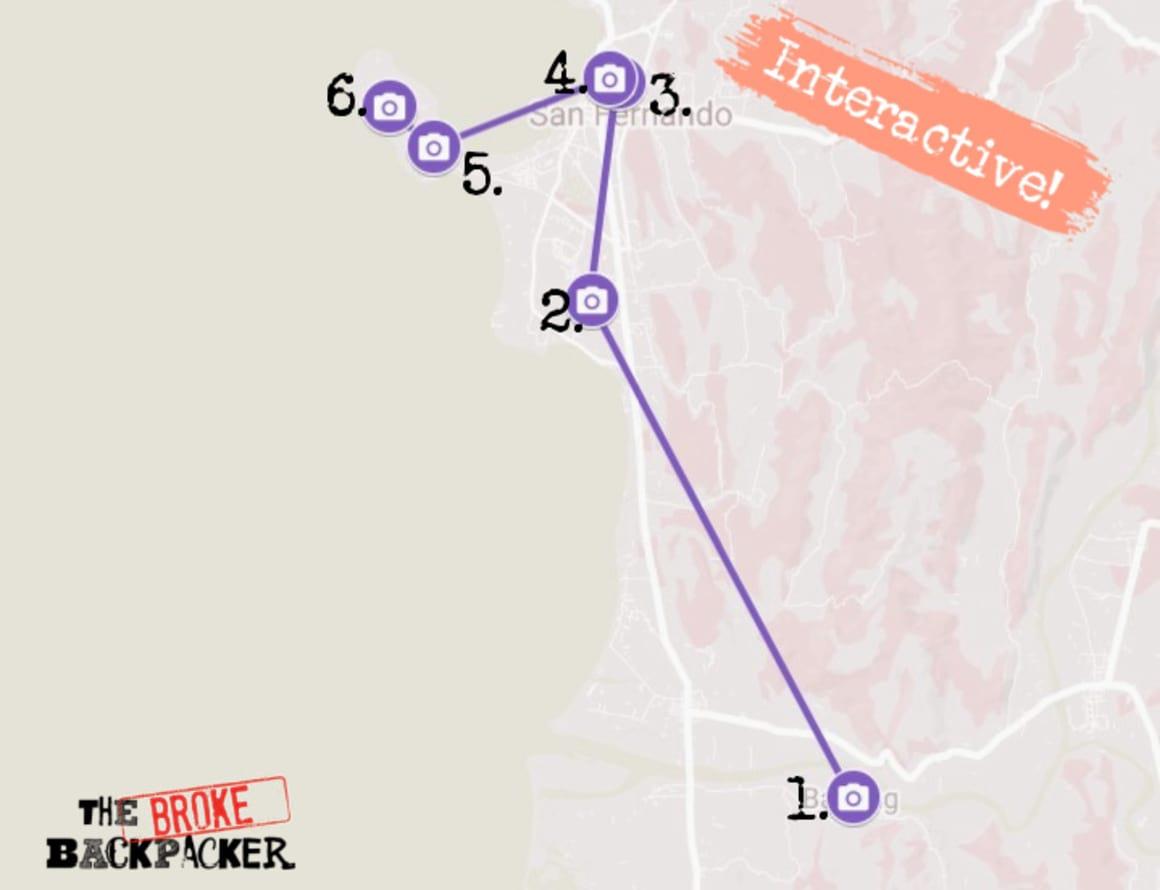 La Union Day 1 Itinerary Map