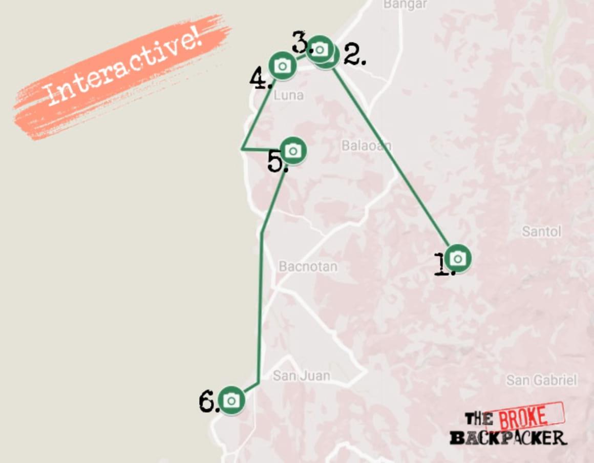 La Union Day 3 Itinerary Map