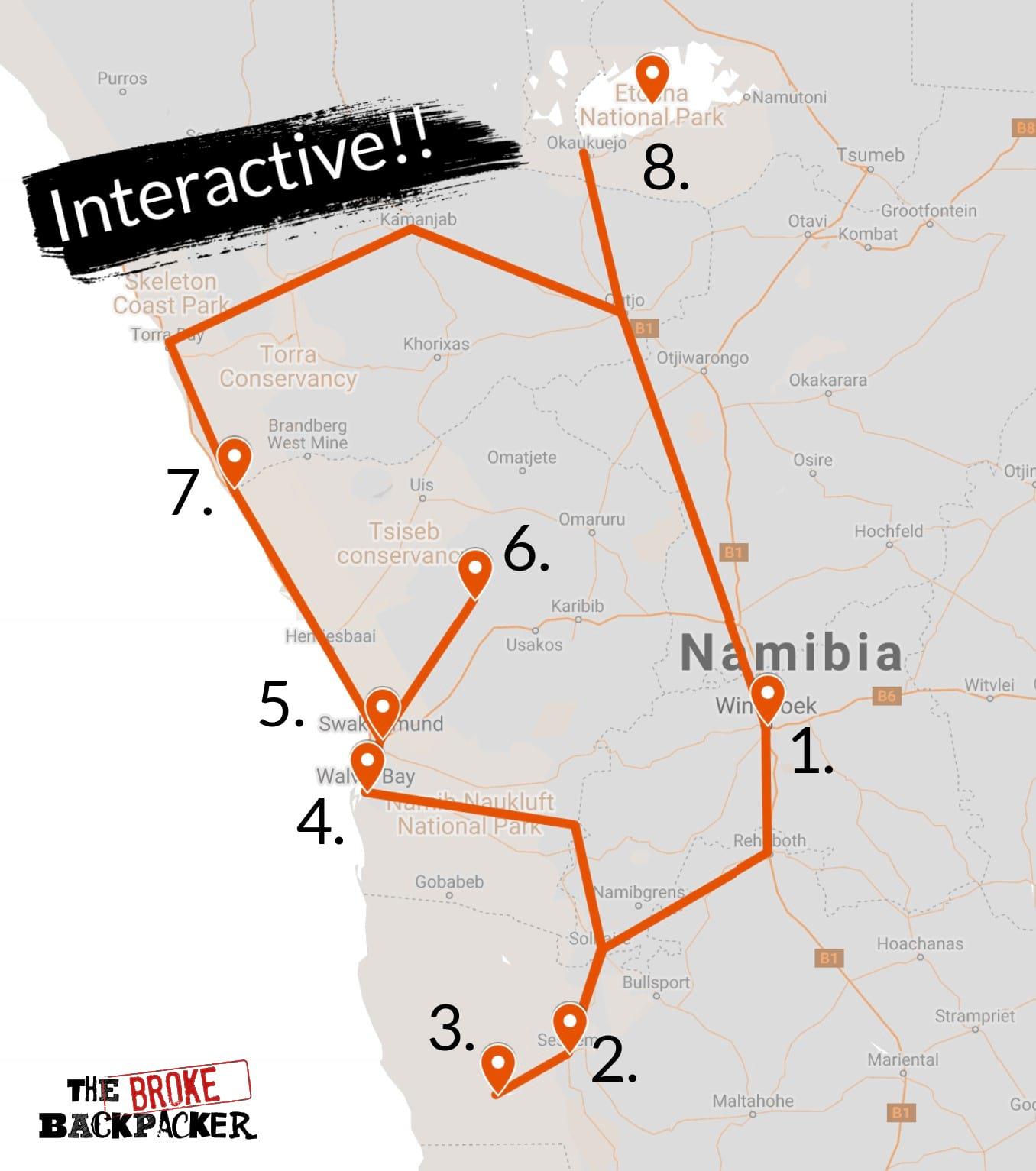 namibia backpacking itinerary map