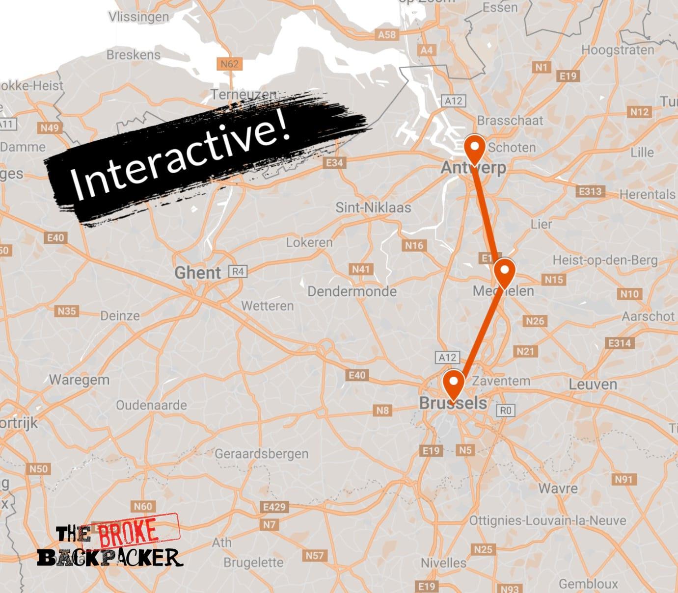 backpacking belgium map 3 days