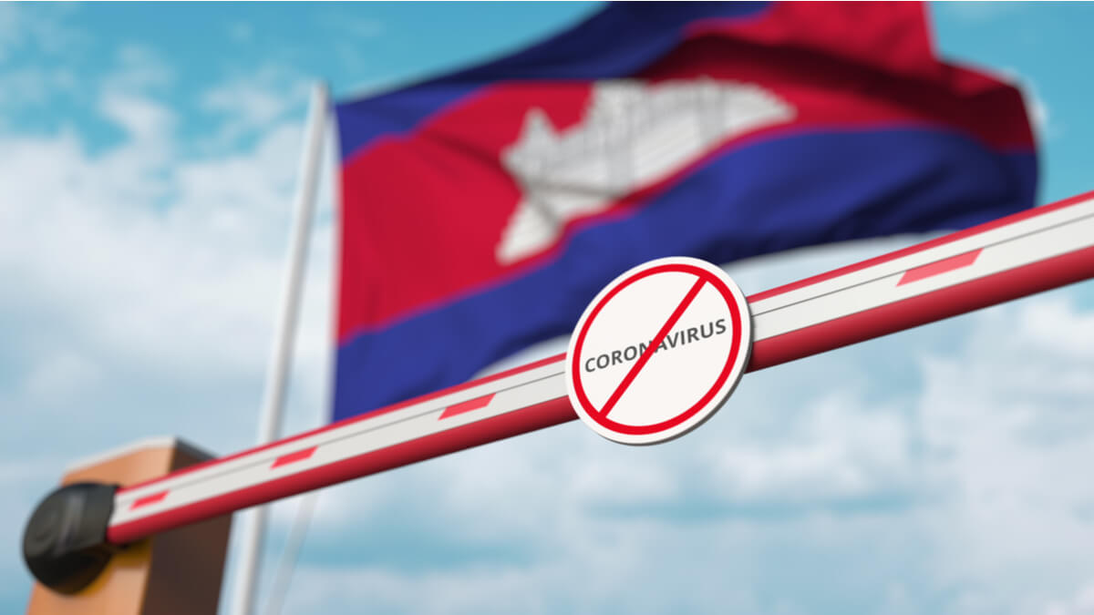 Flag of Cambodia with a shut gate and a coronavirus sign