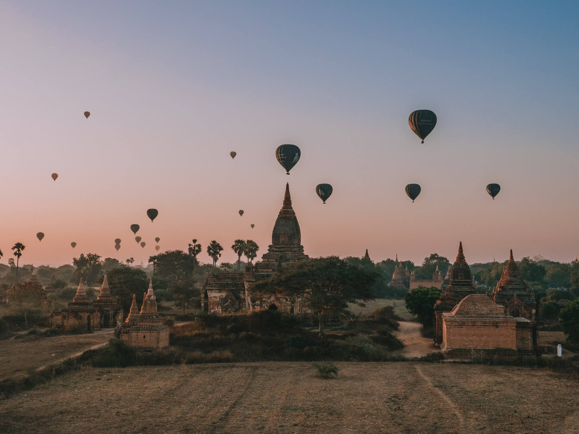Hot air ballooning over Bagan - fun tourist activity in Myanmar