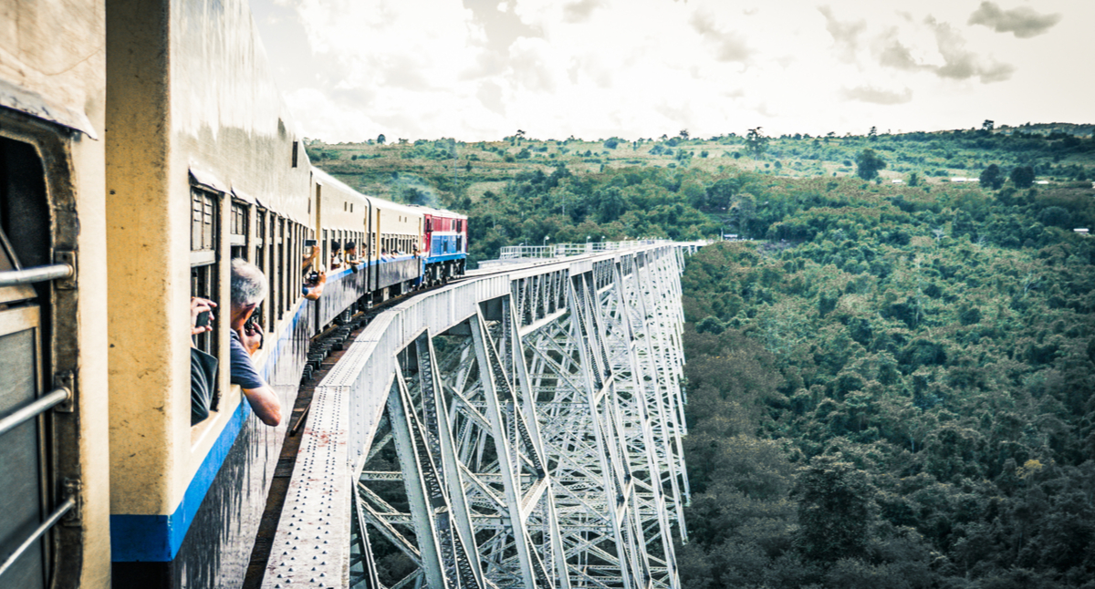 Crossing the Goteik Viaduct on the train journey from Mandalay to Hsipaw