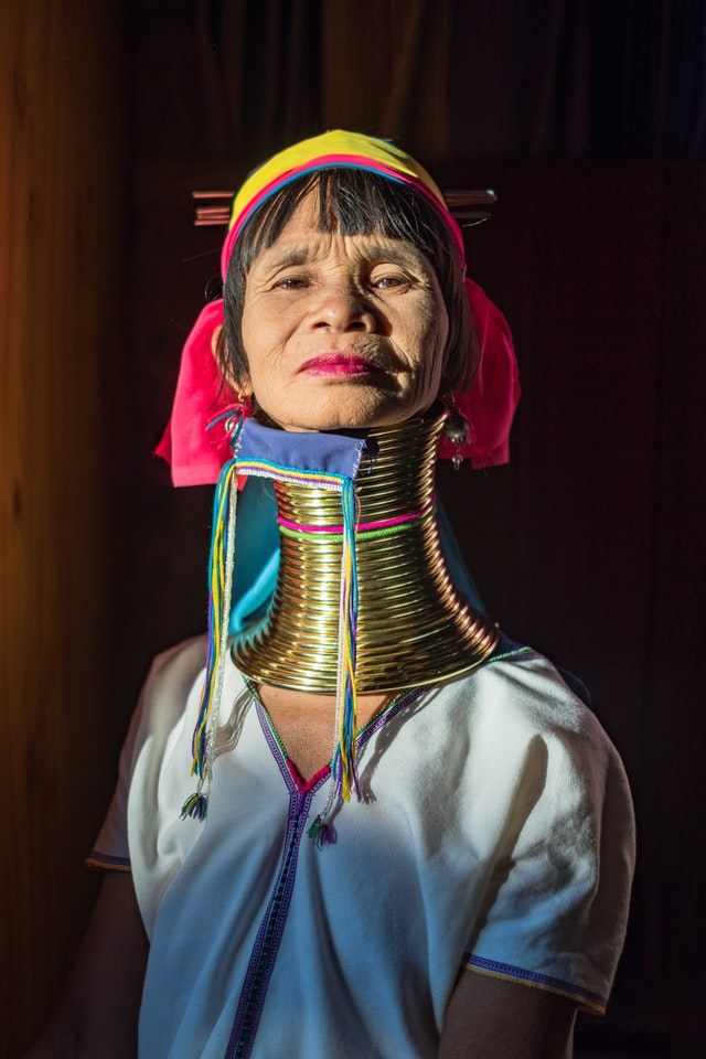 A woman with an artificially elongated neck belonging to the Kayan tribe of Myanmar