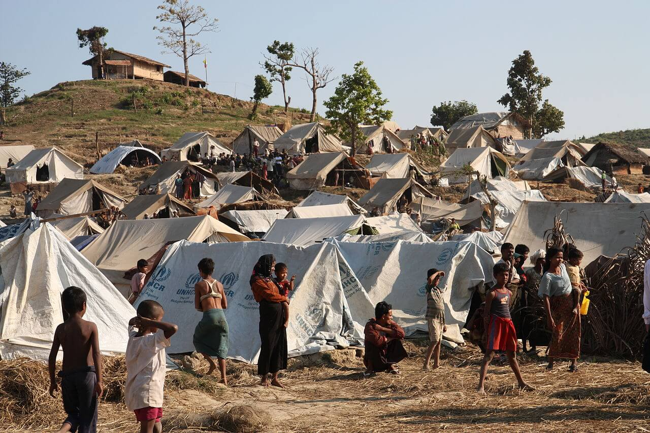 A camp of the stateless Rohingya people of Rakhine State, Myanmar