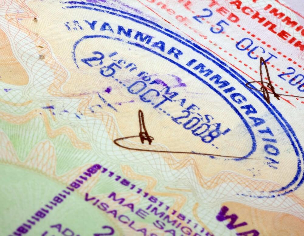 A closeup of the Myanmar travel visa stamp
