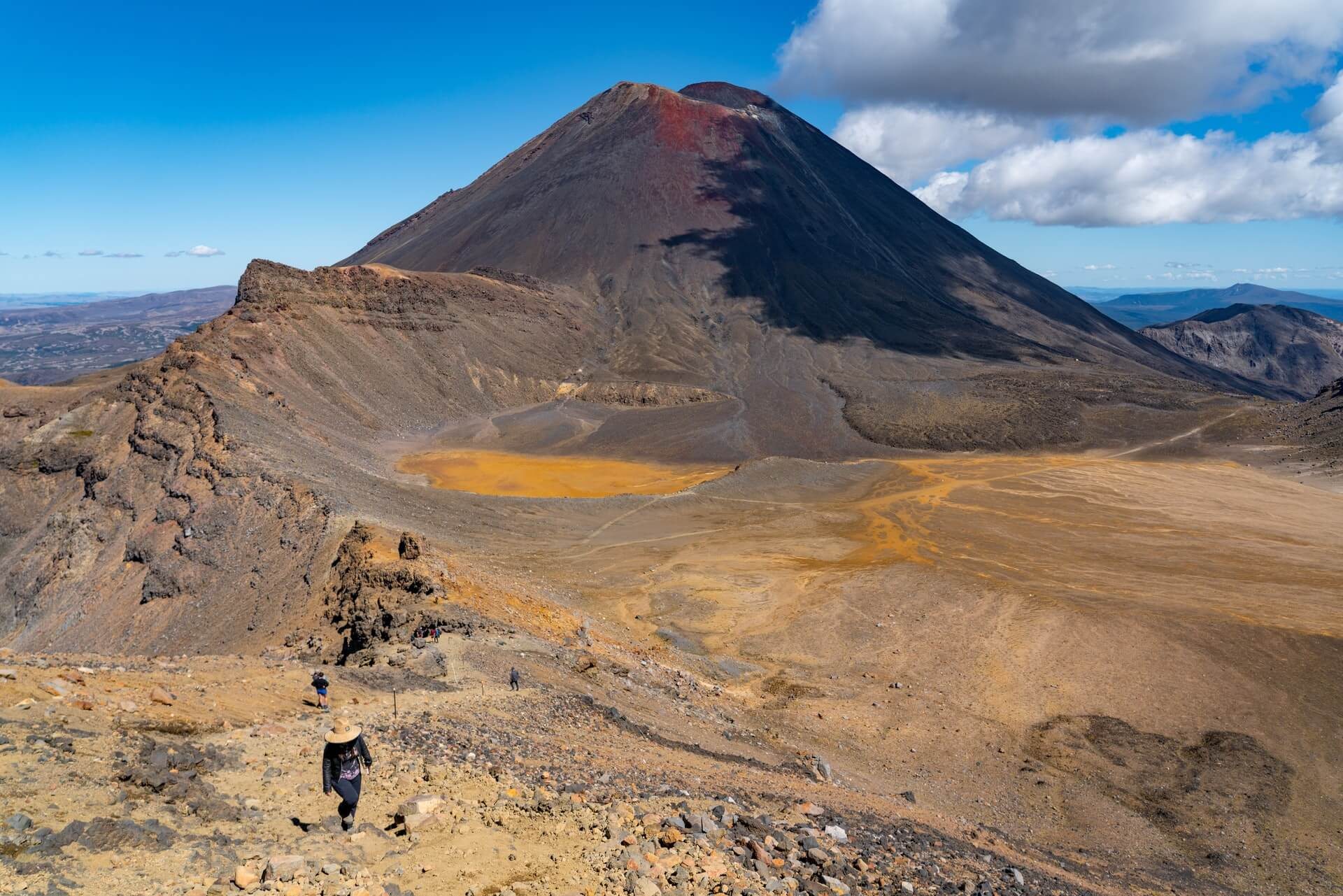 """Tramping (hiking) the Tongariro Crossing featuring """"Mount Doom"""" - one of the Great Walks of New Zealand"""