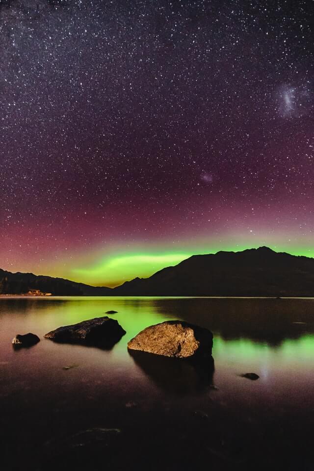 Southern Lights - Aurora Australis - over Lake Wakatipu in Queenstown