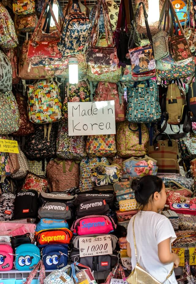 A selection of budget backpacks while shopping in Seoul at cheap markets