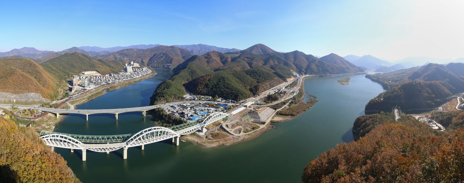 Panoramic photo from a viewpoint in Danyang, South Korea