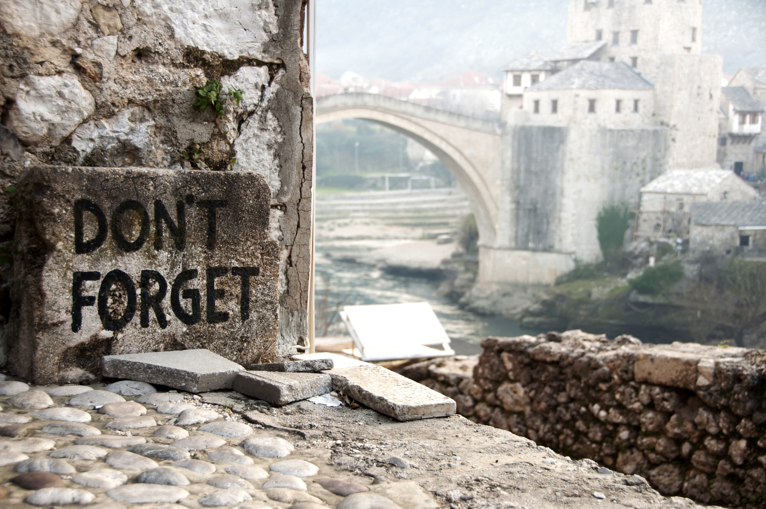 The ancient bridge in Mostar in Bosnia was blown up during the war.