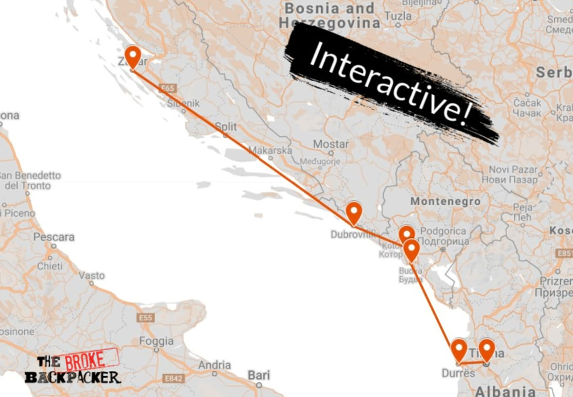 Backpacking The Balkans Map Itinerary 1