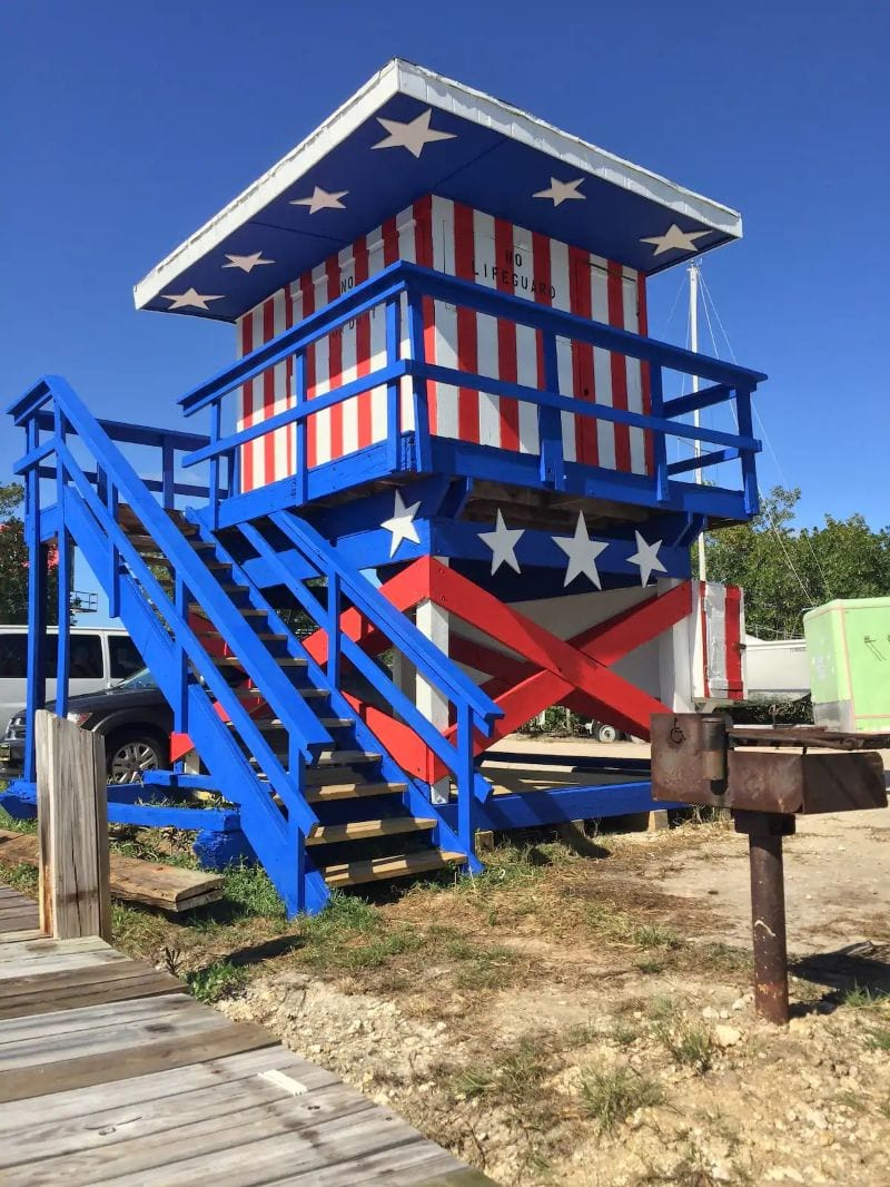 Stars and Stripes Lifeguard Tower Florida Key