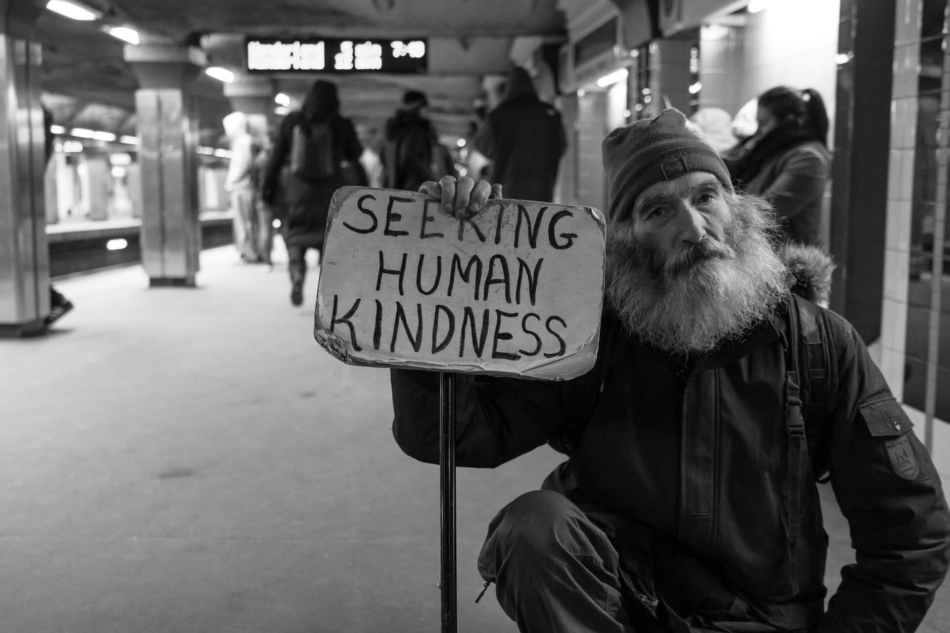 "A homeless man begging with a sign saying ""SEEKING HUMAN KINDNESS"""